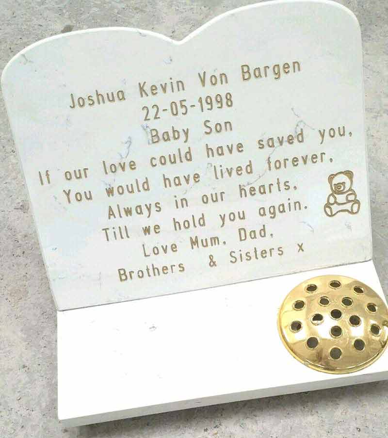 Memorial Headstone with plinth for vases, candle holder