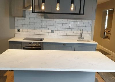 Carrara quartz kitchen worktop with island