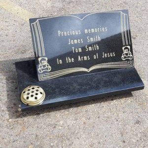 Personalised Large Granite Memorial Plaque Grave Stone 30x55x2cm with flower pot