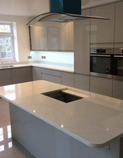 White Carrara Quartz kitchen island worktop