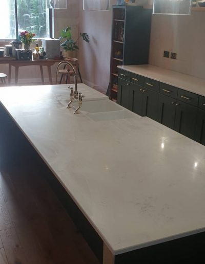 Chichester Granite - White quartz worktop with island