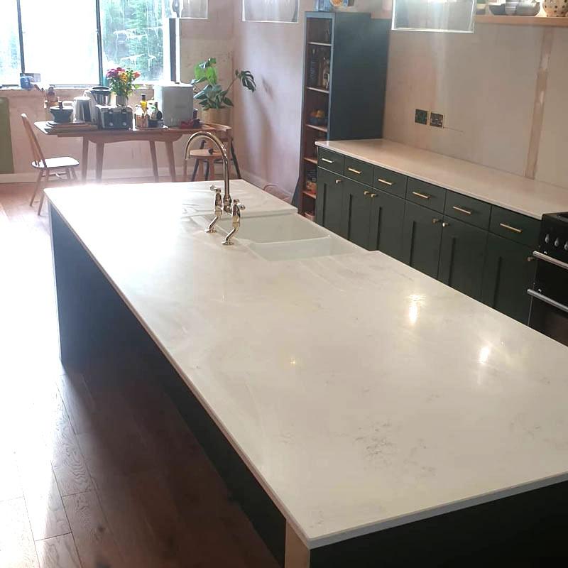 Brighton kitchen worktops - White quartz worktop with island